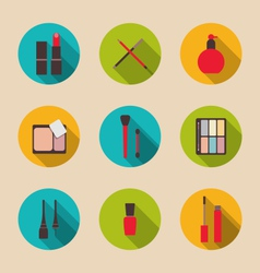 set beauty and makeup icons with long shadow vector image vector image