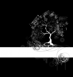 white tree on black vector image vector image