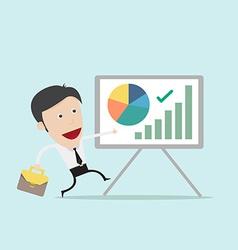 Businessman present pie graph vector image
