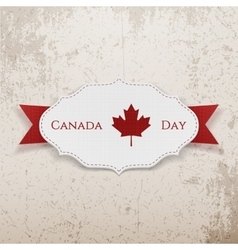 Canada Day Sign on realistic Badge vector image