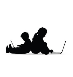children silhouette playing on laptop vector image vector image