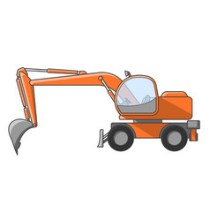 construction excavator on a white background vector image