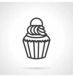 Creamy muffin simple line icon vector image vector image