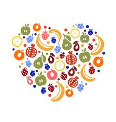 fruity heart art creative love vector image