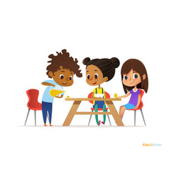 happy kids having breakfast by themselves two vector image vector image