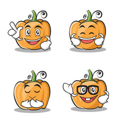 set of pumpkin character cartoon style vector image