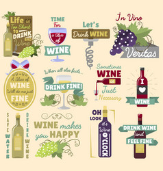 wine vintage logo badge vector image
