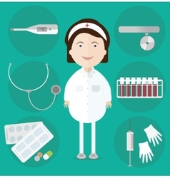 Woman doctor and assorted medicine icons vector image