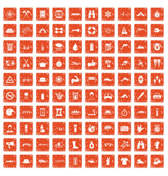 100 rafting icons set grunge orange vector