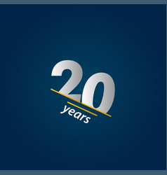 20 years anniversary celebration blue and white vector