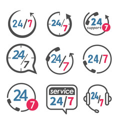 24 7 icon open 24 hours a day and 7 days a week vector