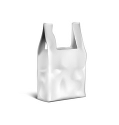 3d shopping handle disposable plastic bag package vector image