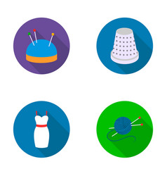 A pillow with pins a centimeter a dress a vector