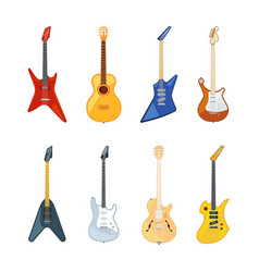 acoustic and rock guitar in vector image