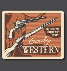 american western ammo guns and rifles shop vector image