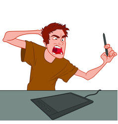 Angry artist screaming at graphics tablet vector
