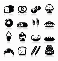 Bakery pastry icons set - bread donut cake vector