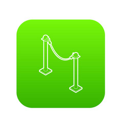 Barrier rope icon green vector