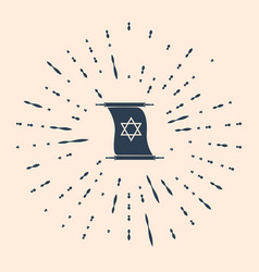 Black torah scroll icon on beige background vector