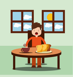 Boy happy to eat breakfast in the morning vector