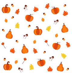 brigh simple cartoon pattern with pumpkins vector image