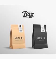 Brown and black paper bag folded mock up vector