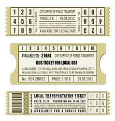 Bus ticket set vector