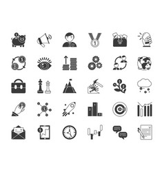 business and finance symbols monochrome icons set vector image