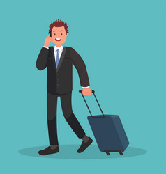 business man at airport with luggage is vector image