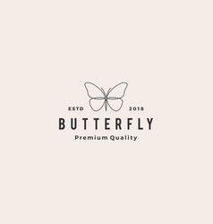 butterfly logo line outline monoline icon vector image