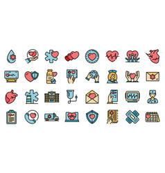 cardiologist icons set flat vector image