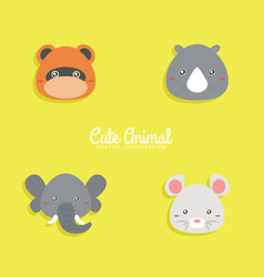 cartoon animals face vector image