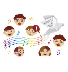children choir and paper dove with musical notes vector image