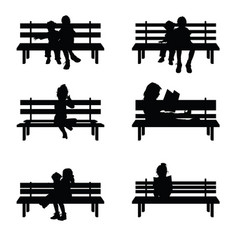 Children silhouette set sitting on park benches vector