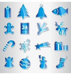 christmas blue shiny stickers collection eps10 vector image