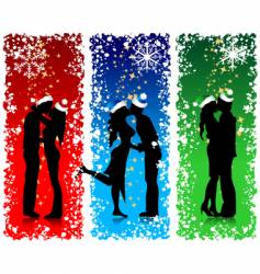 christmas couples vector image