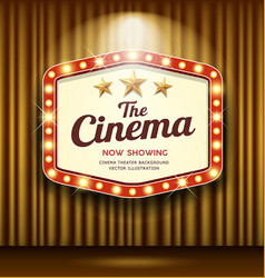 cinema theater hexagon sign gold curtain light vector image