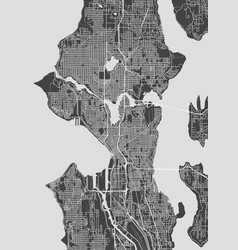 City map seattle monochrome detailed plan vector