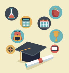 color background with graduation cap and vector image