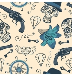 Colorful seamless pattern with guns diamonds and vector