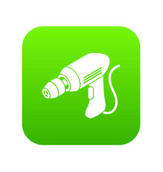 Corded drill icon green vector
