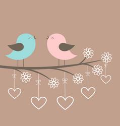 Couple cute birds sing vector