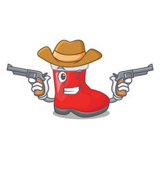 cowboy christmas santa boots with shape cartoon vector image