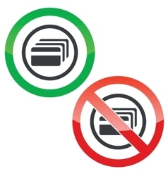 Credit card permission signs vector