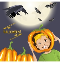 Cute card for Halloween with cartoon boy pumpkins vector image