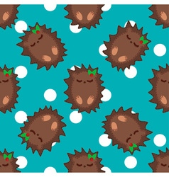Cute cartoon hedgehog seamless pattern vector image
