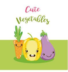 Cute vegetables kawaii cartoon vector
