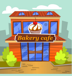 dessert and sweet retail urban bakery cafe vector image