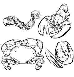 Drawing seafood dinner vector image