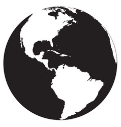 earth icon map black vector image
